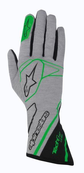 Závodní rukavice Alpinestars Tech 1Z - šedé/zelené