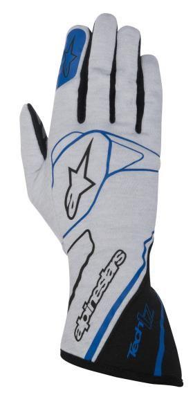 Závodní rukavice Alpinestars Tech 1Z - stříbrné/modré