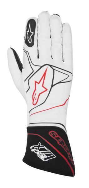 Závodní rukavice Alpinestars Tech 1ZX - bílé/černé
