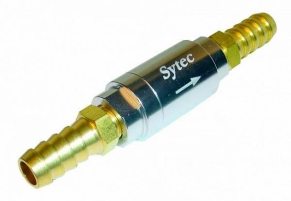 Zpětný ventil celo hliníkový Sytec - hadice 10mm - stříbrný