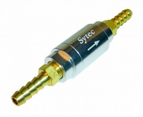 Zpětný ventil celo hliníkový Sytec - hadice 6mm - stříbrný