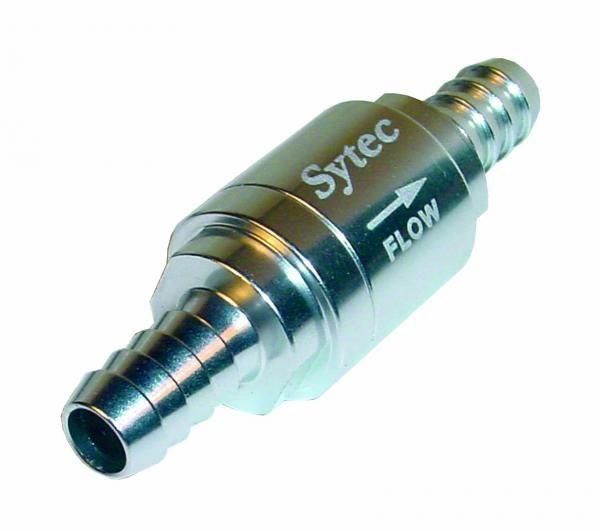 Zpětný ventil celo hliníkový Sytec - hadice 8mm - stříbrný