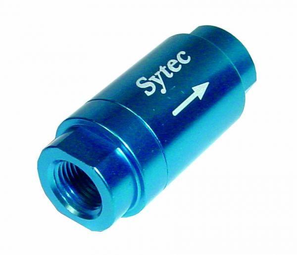 """Zpětný ventil celo hliníkový Sytec - samice 1/8""""-NPT - modrý"""