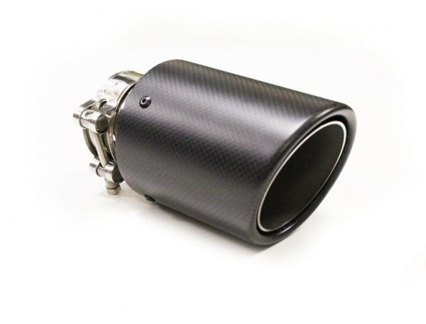 Koncovka výfuku Turbo Parts karbonová - kulatá zkosená průměr 114mm - montážní průměr 76mm (homologace)