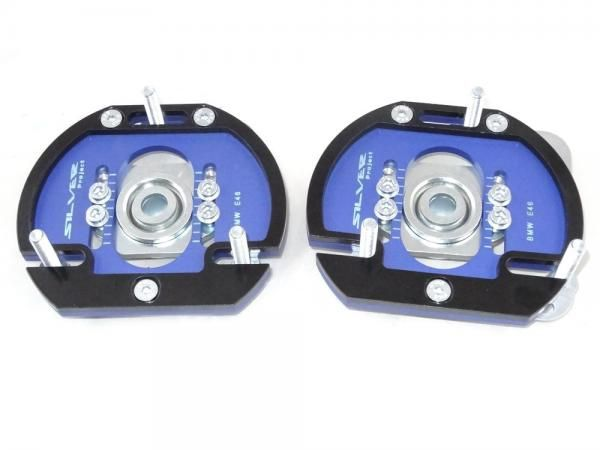 Přední horní uložení tlumičů (Pillowball Top Mounts) Silver Project BMW E46 - 3D 2way verze pro stavitelný podvozek
