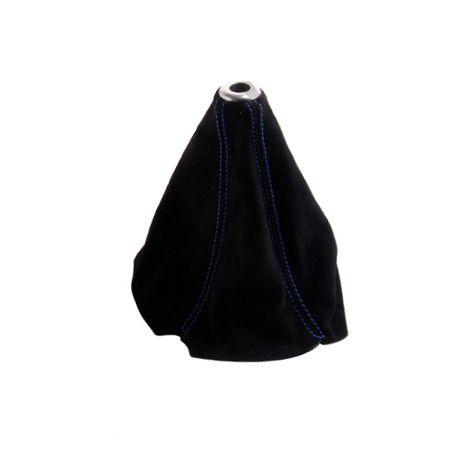 Manžeta na řadící páku Epman - PVC broušená kůže s modrým prošíváním