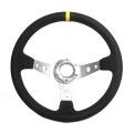 Sportovní volant SW018 - 350mm semiš / 90mm - černý/stříbrný