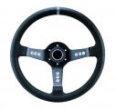 Sportovní volant SW015L - 350mm kůže / 63mm - černý/černý (šedý proužek)
