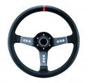 Sportovní volant SW015L - 350mm kůže / 63mm - černý/černý (červený proužek)