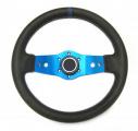 Sportovní volant SW555 - 350mm kůže / 90mm - černý/modrý