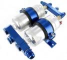Adaptér pro instalaci dvou palivových pump 044 s duálním držákem a dvěma pumpami Bosch style 044 (0580254044) - vstupní + výstupní