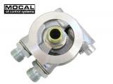 """Adaptér pod olejový filtr Mocal 3/4-16UNF s termostatem - vývody 1/2""""-BSP"""