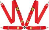 Bezpečnostní pás OMP First 4-bodový červený - karabina (FIA homologace)