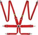 Bezpečnostní pás OMP First 6-bodový červený - karabina (FIA homologace)