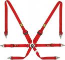 Bezpečnostní pás OMP One Convertible 6-bodový červený - karabina (FIA homologace)