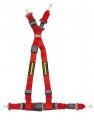 Bezpečnostní pás Schroth QuickFit 4-bodový červený - očko (E homologace) - levý