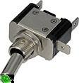 Vypínač kovový 12mm 25A / 12V se zelenou LED - on/off