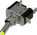Vypínač kovový 12mm 25A / 12V se žlutou LED - on/off
