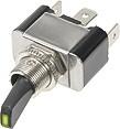 Vypínač kovový 12mm 30A / 12V se zelenou LED - on/off