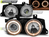 Přední světla BMW E32/E34 Angel Eyes chrom