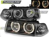 Přední světla BMW E36 12,90-08,99 C/C Angel Eyes černá