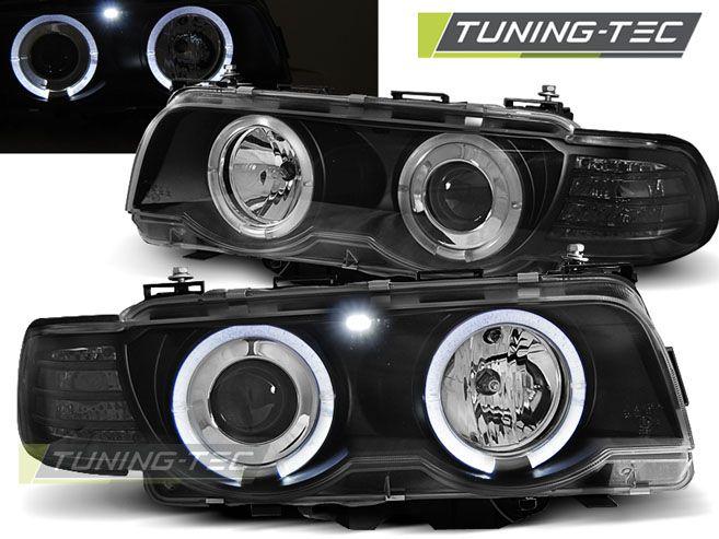 Přední světla BMW E38 09/98-07/01 Angel Eyes černá TUNINGTEC