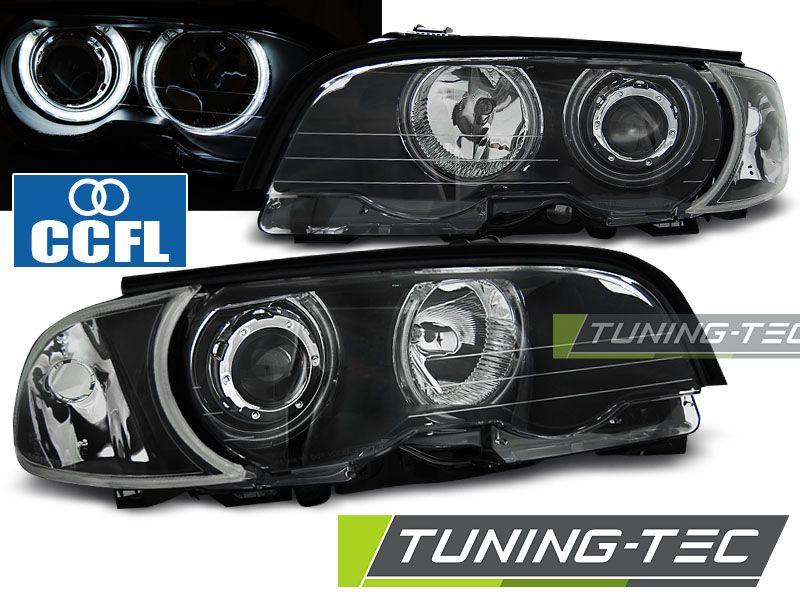 Přední světla BMW E46 04/99-03/03 coupe cabrio Angel Eyes CCFL černá TUNINGTEC
