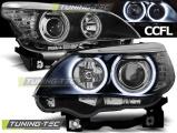 Přední světla BMW E60/E61 03-07 Angel Eyes CCFL černá