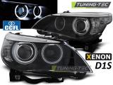 Přední světla BMW E60/E61 05-07 D1S angel Eyes CCFL černá xenon