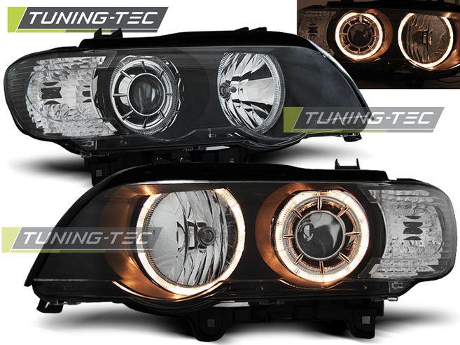 Přední světla BMW X5 E53 09/99-10/03 Angel Eyes černá TUNINGTEC