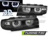Přední světla BMW E38 94-01 Angel Eyes led 3D černá