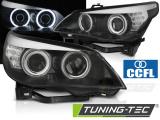 Přední světla BMW E60/E61 03-07 angel Eyes CCFL černá led