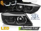 Přední světla BMW E90/E91 05-08 Angel Eyes led 3D černá