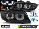 Přední světla BMW E90/E91 09-11 Angel Eyes led DRL černá xenon