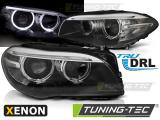 Přední světla BMW F10, F11 10-07.13 Angel Eyes led DRL černá xenon