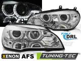 Přední světla BMW X5 E70 07-10 Angel Eyes led DRL chrome AFS xenon
