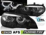 Přední světla BMW X5 E70 07-10 Angel  Eyes led DRL černá AFS xenon