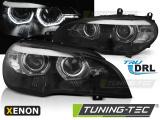 Přední světla BMW X5 E70 07-10 Angel Eyes led DRL černá xenon
