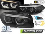 Přední světla BMW F10/F11 10-13 Angel Eyes led DRL černá SEQ xenon
