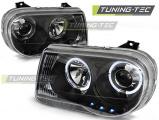 Přední světla Chrysler 300C 05-10 Angel Eyes černá