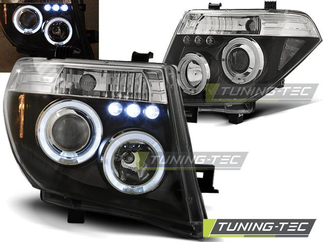 Přední světla Nissan Navara D40/Pathfinder 05-10 Angel Eyes černá TUNINGTEC