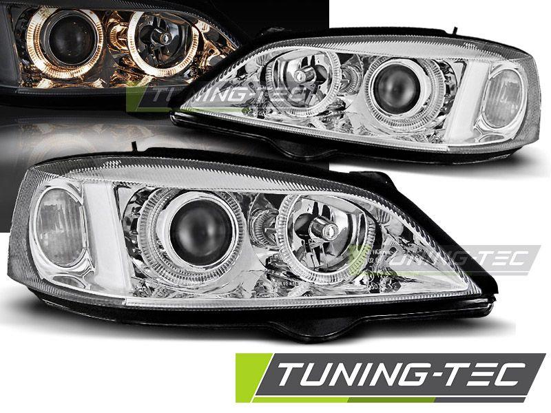 Přední světla Opel Astra G 09/97-02/04 Angel Eyes chrom TUNINGTEC