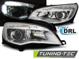 Přední světla Opel Astra J 10-12 chrom TRU DRL
