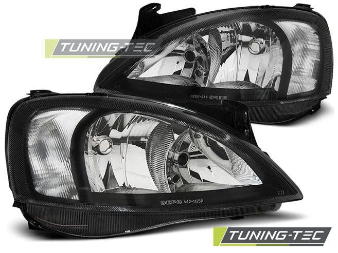Přední světla Opel Corsa C 11/00 - 09/06 černá TUNINGTEC
