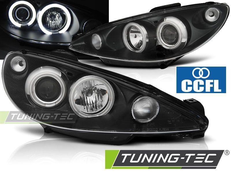 Přední světla Peugeot 206 02- Angel Eyes černá CCFL TUNINGTEC