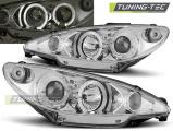 Přední světla Peugeot 206 02- Angel Eyes chrom