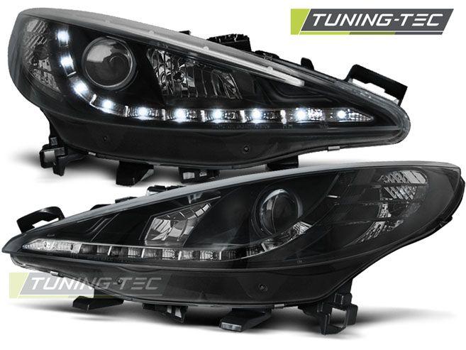 Přední světla Peugeot 207 05/06-06/12 černá W/MOTOR TUNINGTEC