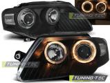 Přední světla VW Passat B6 3C 03/05-10 Angel Eyes černá