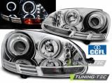 Přední světla VW Golf 5 10/03-09 Angel Eyes CCFL chrom