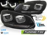 Přední světla VW Golf 6 08-12 Led DRL černá SEQ